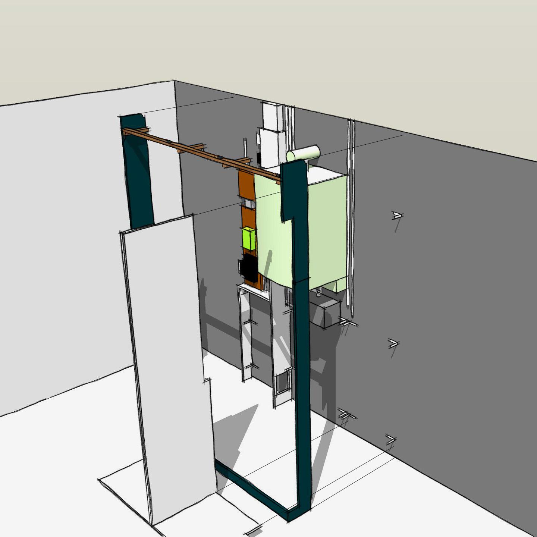 meuble d'entrée sur mesure - dessin montage 2