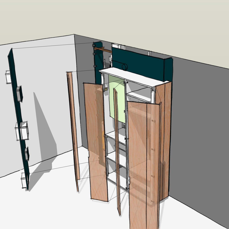 meuble d'entrée sur mesure - dessin montage 5
